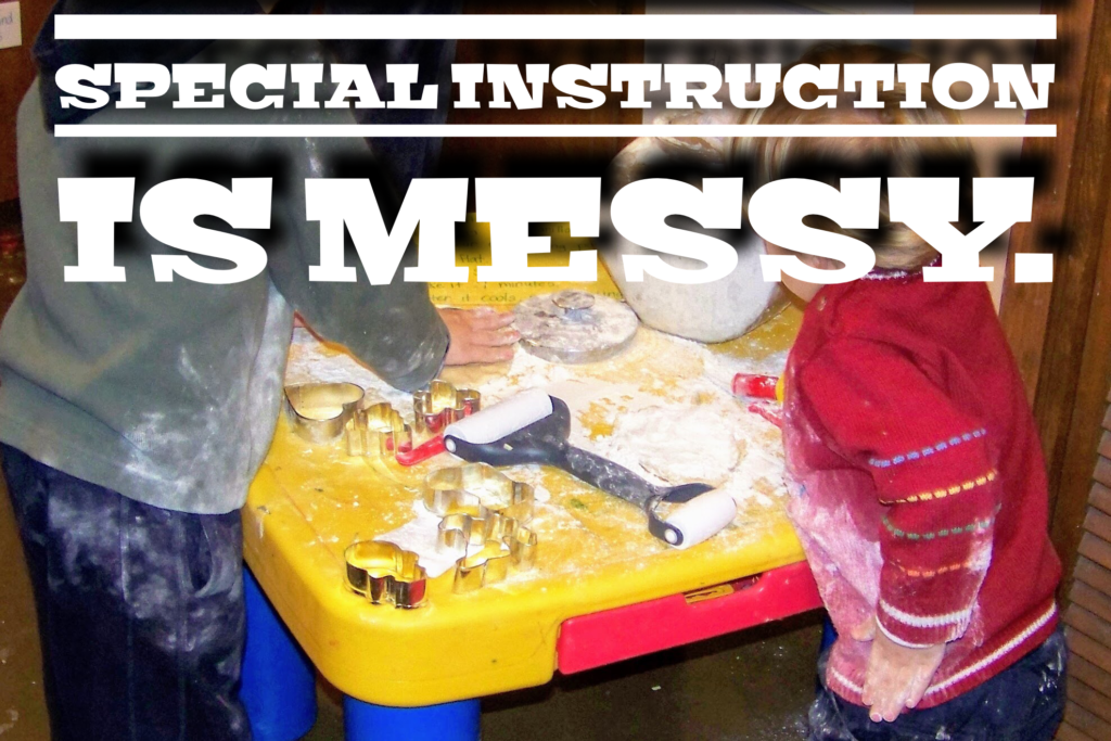 children getting messy with special instruction